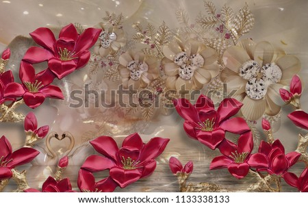3d wallpaper design with florls for photomural