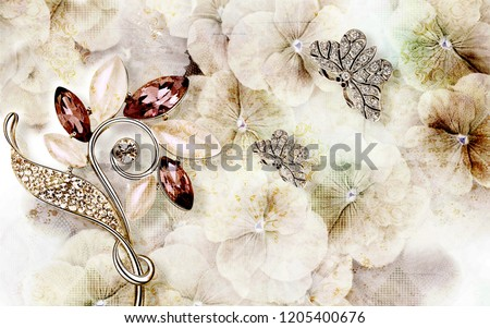 3d wallpaper design with grunge floral and jewels for photomural