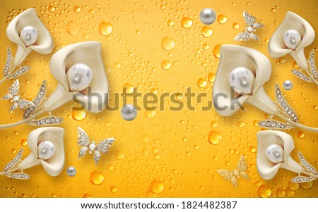 3D wallpaper design with jewels and flowers for photomural print, 3d render