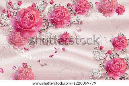 3d wallpaper design with jewels and roses for photomural
