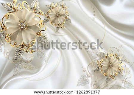3D Wallpaper Design with jewels -   beautiful wall brick background