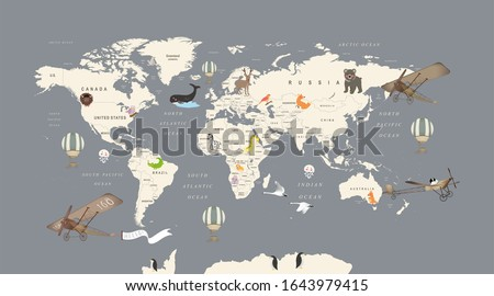 3d wallpaper design with kids world map with animals Foto stock ©