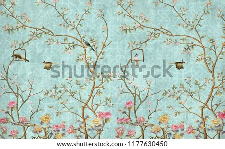3d wallpaper design with little flowers and birds for photomural