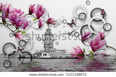 3d Wallpaper design with maiden tower istanbul and geometric circles with florals for photomurals #1121108072
