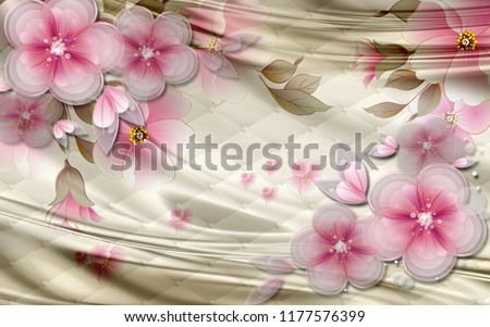 3d wallpaper design with pink flowers and silk background for photomural