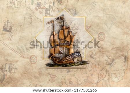 3d wallpaper design with ship on piri reis map for photomural Stockfoto ©