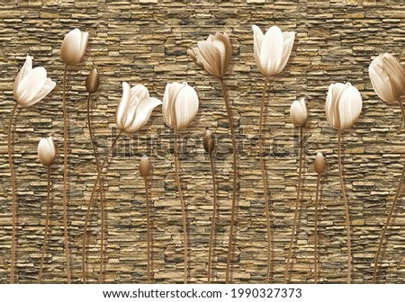 3d wallpaper flowers Cristal and background Bricks  Foto stock ©