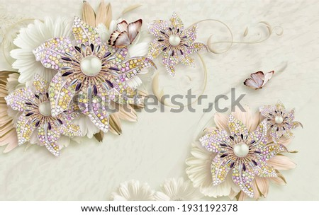 3d wallpaper flowers Cristal and background texture  Foto stock ©