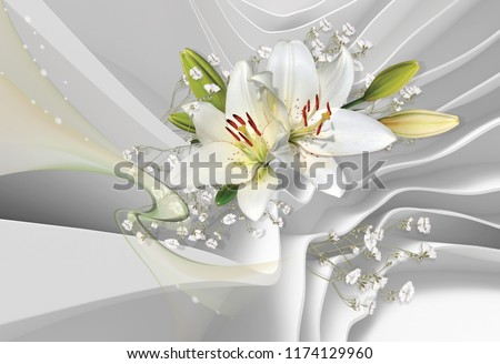 3d wallpaper for room White lilies. Bouquet of lilies on a background of white abstract architecture. Photo wallpaper.