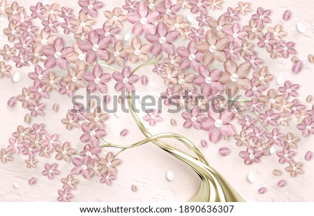 3d wallpaper for wall . mural tree with golden stem and flowers . Abstract floral background .
