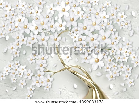 3d wallpaper for wall . mural tree with golden stem and golden pearl with white flowers . Abstract floral background .