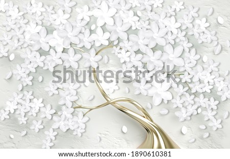 3d wallpaper for wall . mural tree with golden stem and white flowers . Abstract floral background .