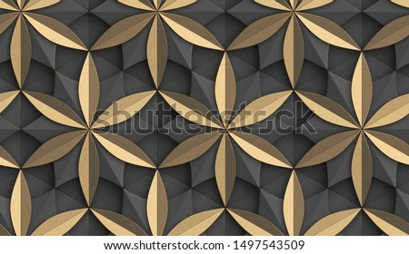 3D Wallpaper in the form of geometric panels of gray old metal with golden decorative elements. Flower of life. Realistic seamless texture of high quality.