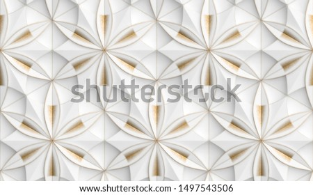 3D Wallpaper in the form of geometric panels of white with golden decorative scuffs. Flower of life. Realistic seamless texture of high quality.