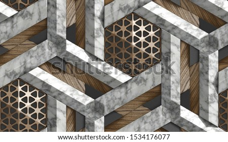 3D Wallpaper in the form of imitation of decorative mosaic of brown metal, white marble and brown wood elements. High quality seamless realistic texture.
