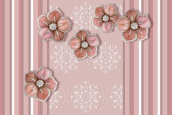 3D wallpaper, Jewelry flowers, pattern with vertical stripes, lines of different thickness and pastel shades