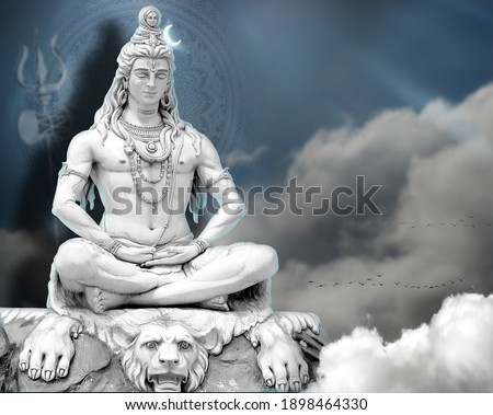 3d Wallpaper Lord Shiv with clouds and Sun Rays, God Mahadev mural 3D illustration Blue clouds and rays God Mahadev Doing Meditation with defocus trishul