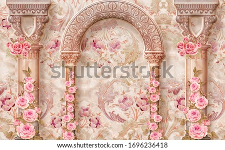 3d wallpaper marble pattern columns