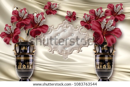 3d wallpaper Red flowers in vase  #1083763544