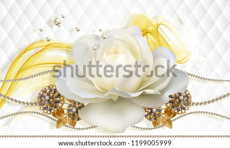 3D wallpaper, rose and jewelry flowers on white abstract background. Flower theme - this is a trend in design. Celebration 3d background.
