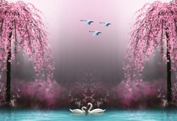 3d wallpaper swan pink tree water