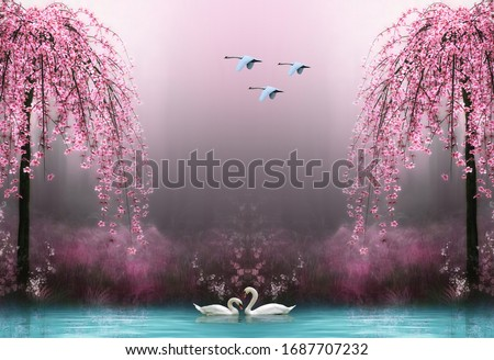 Photo of  3d wallpaper swan pink tree water