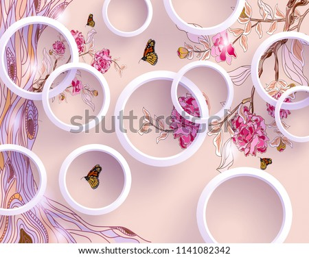 3d wallpaper with circles and florals for photomurals