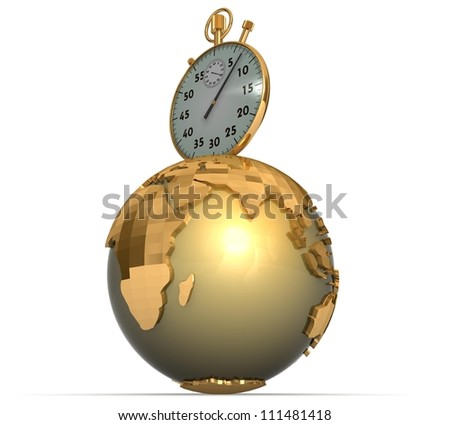 3d watch and gold earth on a white background
