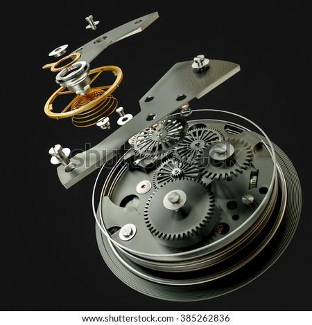 3d watch mechanism on black background. High resolution