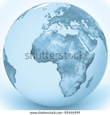 3d water globe - stock photo