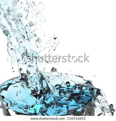 3d water splash isolated on white background
