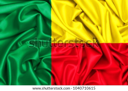 3d waving flag of Benin, silk texture fabric background #1040710615