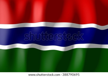 3D waving flag of Gambia.