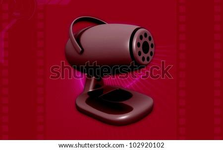 3d web camera on color background