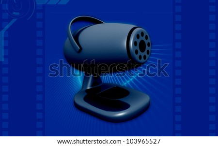 3d web camera on color background