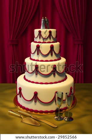 stock photo 3d wedding cake on table with red velvet background