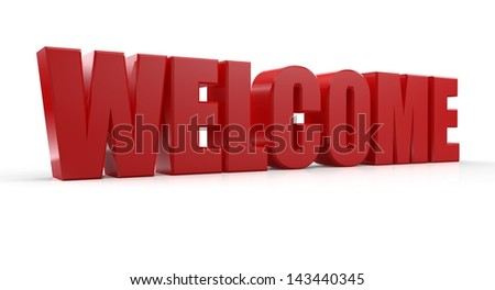 3d welcome text on white background