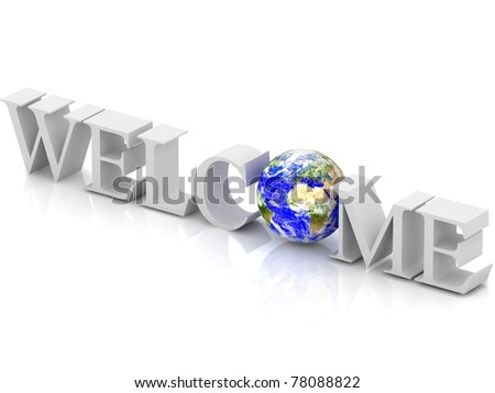 3d Welcome text with abstract globe. - stock photo