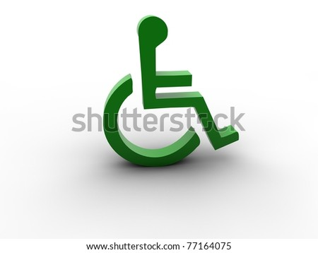 3d wheel chair access sign