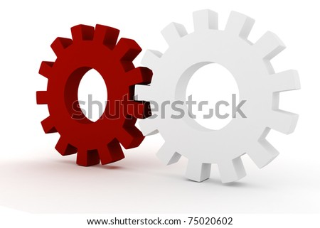 3d wheel gears on white background