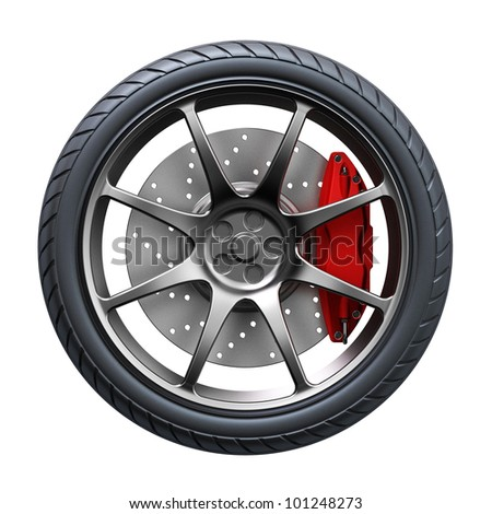 3d wheel isolated on white background. 3d render