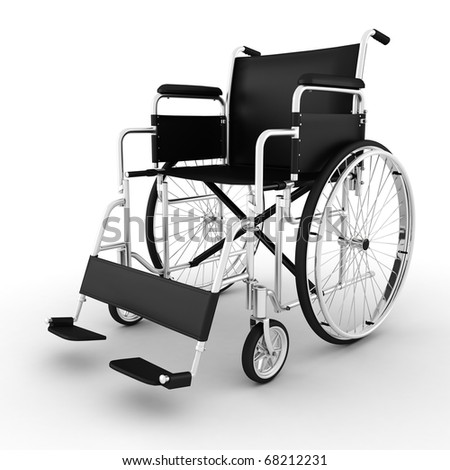 3d wheelchair, isolated on white background