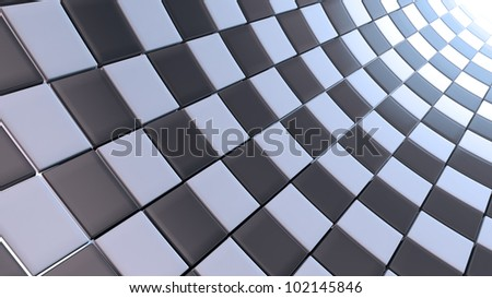 3D white and black checkers background