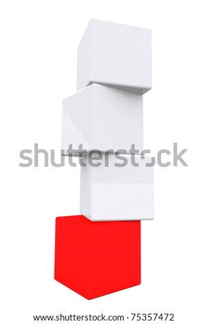 3d white and red glossy plastic cube in vertical