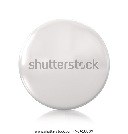 3d white badge isolated on mirror floor