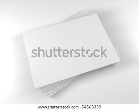 3D white blank paper sheet