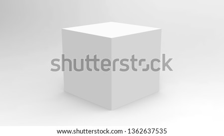 3d white box render on white background for product package design mockup and template  stock photo