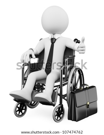 3d white business person handicapped with thumb up. 3d image. Isolated white background.