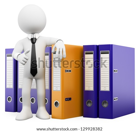 3d white business person look and find the folder he needs. 3d image. Isolated white background.