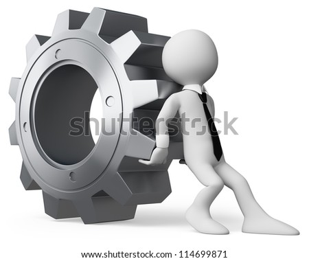3d white business person pushing a huge gear. 3d image. Isolated white background.